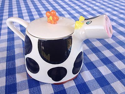 "Unique Collectable Cute ""Funky Breakfast""  Debenhams Ceramic Holstein Cow Teapot"