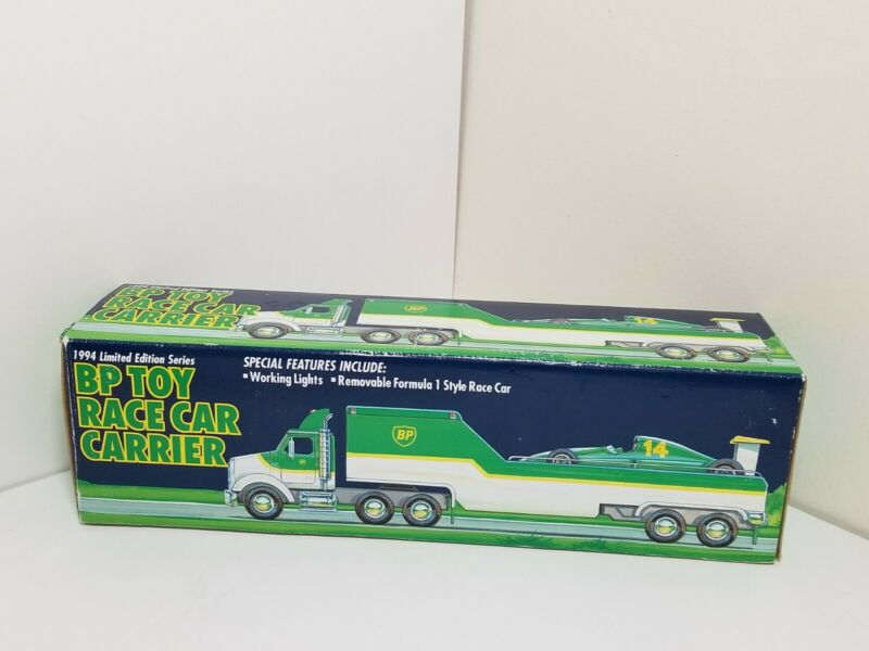 NIP Vintage 1994 BP Toy Race Car Carrier Limited Edition Series Truck Trailer
