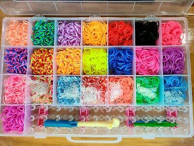 Knitting Looms Boards Loom Kit SET 5600 Rubber Bands 22 Colors Kids Toy Gift DIY