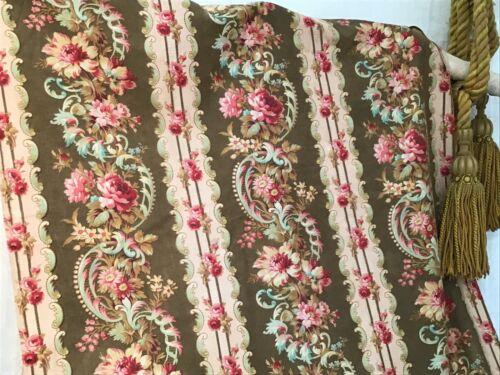 Antique French Block Printed 19th c. Cotton Fabric  home decor Yardage