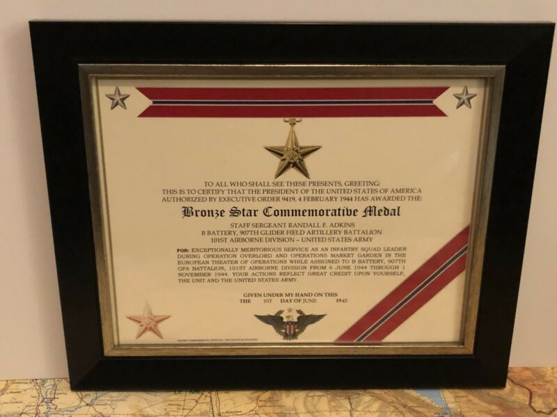 BRONZE STAR COMMEMORATIVE MEDAL CERTIFICATE ~ Type 1 - W/Free Printing