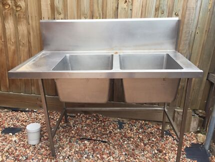 Commercial stainless double sink