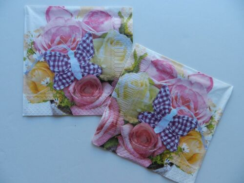2 (Two) Single Lunch Size Paper Napkins Decoupage Craft Butterfly Roses