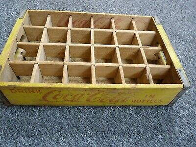 Vintage 1968 Chattanooga Wooden Coca Cola 24 Bottle Crate Yellow Paint