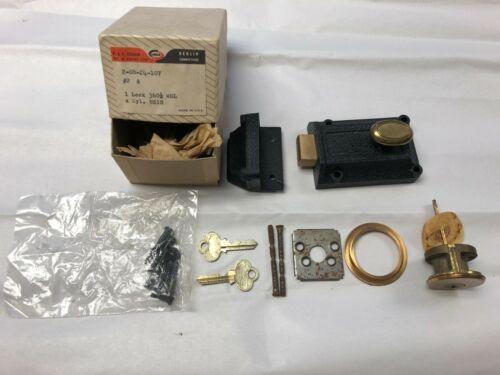 Antique P & F Corbin Deadbolt Door Lock Surface Mount With 2 Keys (Box)