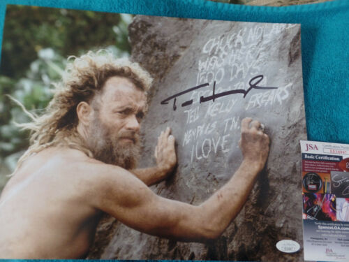 Tom Hanks  close up Autographed 11X14 PHOTO movie  Cast Away JSA Certified