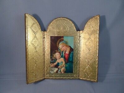 Sezzatini Firenze Hand Painted Italian Florentine Religious Icon Triptych Plaque