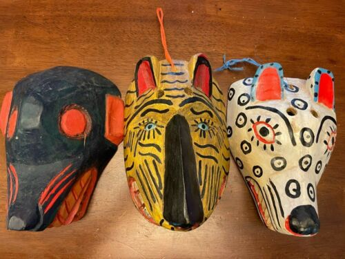 Hand Carved Wooden Dog Painted Wood Wall Decorative Mask Set Of 3 Unique Rare