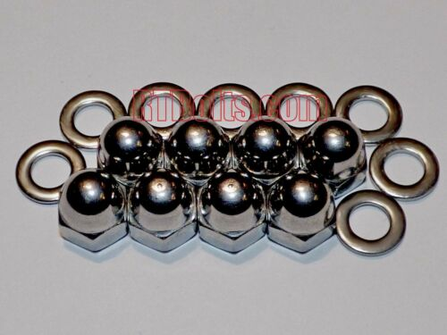 """(8) Acorn Cap Nuts 1/4""""-20 Safety, Show, Dome, Hex, Stainless Steel, UNC Thread"""