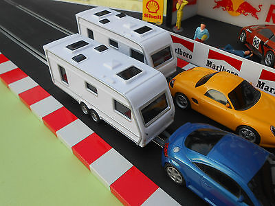 Scalextric track CARAVANS for slot cars EASY FIT HOOKS RACING PAIR (2x CARAVAN)