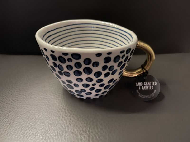 """The Old Pottery Company White Dots  Blue Gold Mug Cup 3"""" New"""