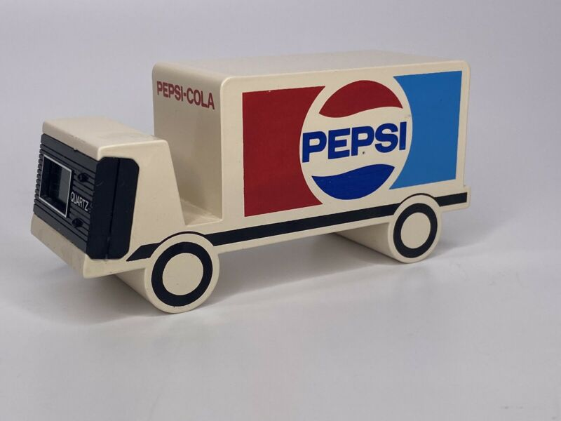 1980s Pepsi New Generation Award Desk Top Clock HEAVY METAL Truck PAPER-WEIGHT