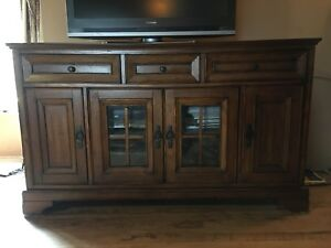 "Beautiful solid wood Entertainment Unit 60"" wide 37"" tall"