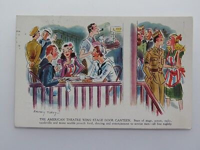 Vintage Postcard WWII American Theatre Wing Stage Door Canteen Barney Tobey 6437