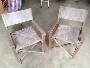 Pair of timber directors chairs, fabric seat and back Carrington Newcastle Area Preview