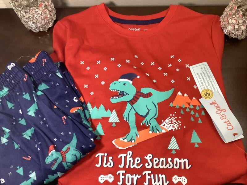 NWT Cat & Jack Boys Christmas Dinosaur Pajamas Set  Size M 8-10 Flame Resisten