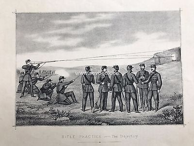 RIFLE PRACTICE The Trajectory Lithographien Original  ca. 1860