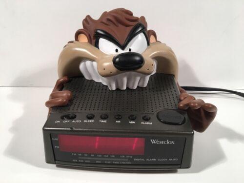 TESTED VINTAGE 1997 Westclox Tasmanian Devil Alarm Clock Taz Radio Looney Tunes