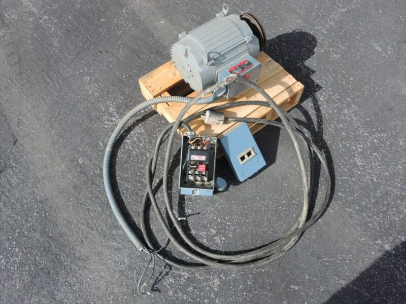 7.5 hp Electric Motor, Motor Starter, Power Cord and Plug (Test Set Take-Out)