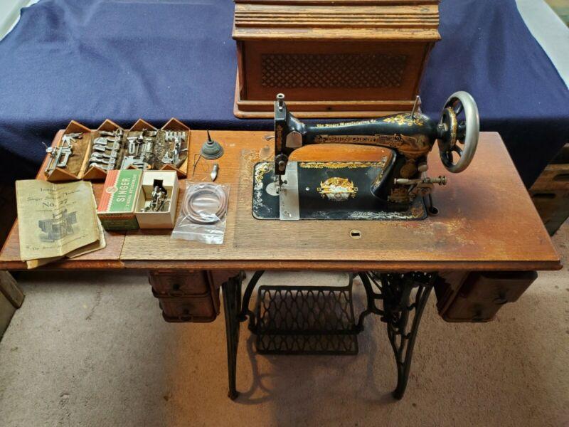 Antique 1892 Singer Sphinx Treadle Sewing Machine #10958022 Table & Accessories