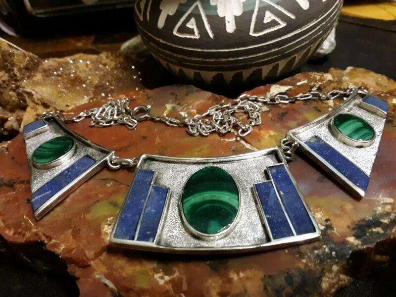 Vintage Lapis Malachite Southwest Big Gorgeous inlay 950 S Silver Necklace sign