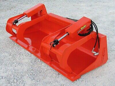 72 Solid Bottom Dual Cylinder Bucket Grapple Skid Steer Quick Attach Attachment