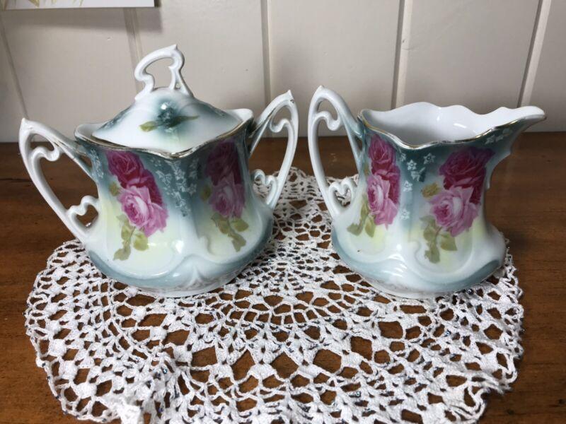 Antique Sugar Bowl & Creamer Set Pink Roses