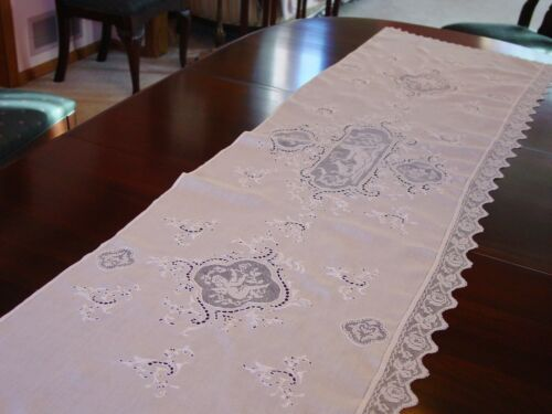 """Exquisite Antique Linen Runner Italy Lace Cherubs, Embroidery Long 21 x 66"""" Exc."""