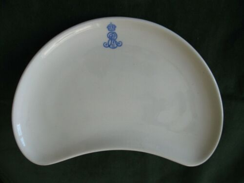 King Edward VII Royal Household Crescent Shape Plate 1905 Worcester