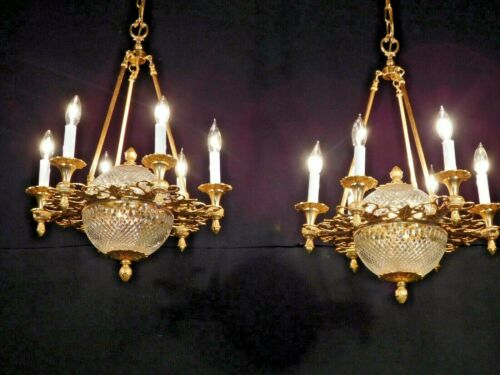 STUNNING Brass Dore Finish Waterford Style Crystal Empire Chandelier (2 Avail)