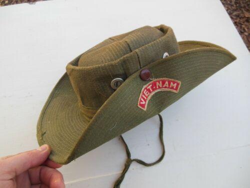 Vietnam War Combat Boonie Jungle Bush Hat Cap Vintage Olive Green Original Nice!