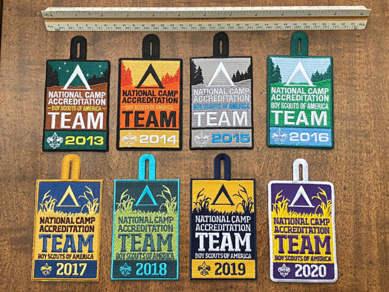 BSA 2013-2020 National Camp Accreditation Team (NCAP) Patches. Complete Set