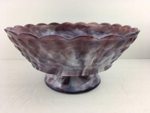 Antique Atterbury Bubbles / Rain Drop Bowl Purple Slag Glass