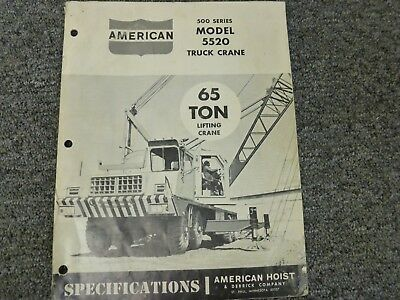 American 5520 Hydraulic Truck Crane Specifications Lifting Capacities Manual