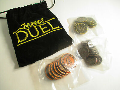 7 Wonders Duel Official OOP Metal Coins and Bag Rare Promo Prize
