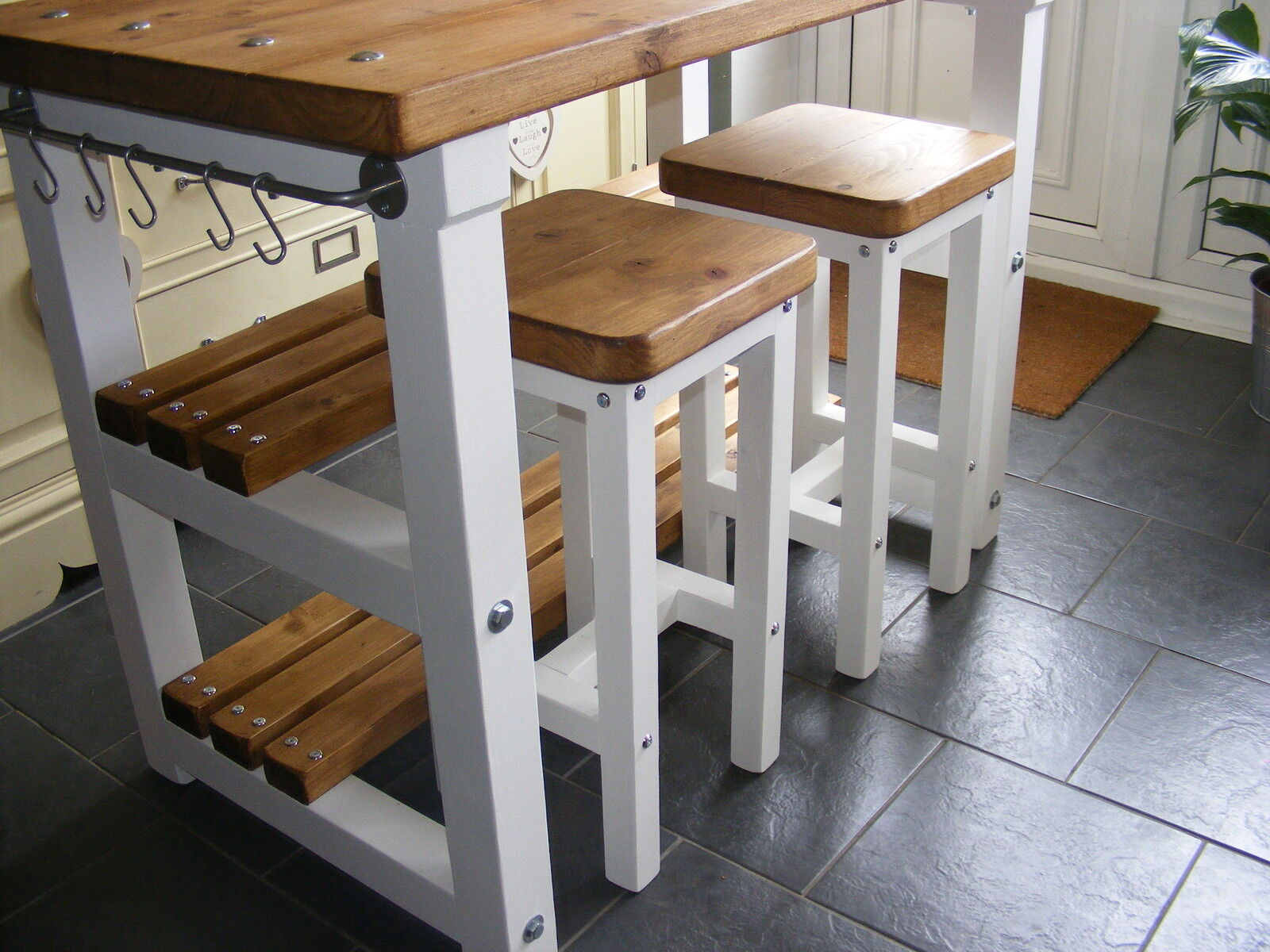 rustic kitchen island breakfast bar work bench butchers