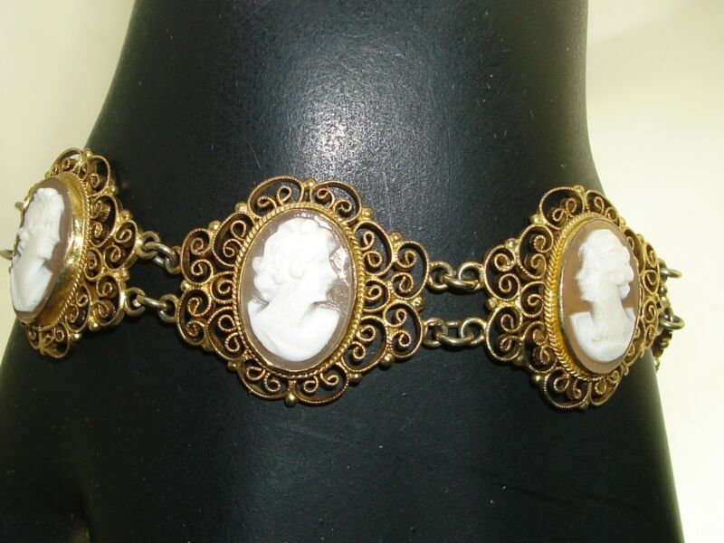 ANTIQUE VICTORIAN GOLD WASHED 900 SILVER FILIGREE CARVED SHELL CAMEO BRACELET!