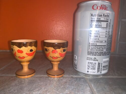 2 Vintage Wood EGG CUPS Holders with FACES Made in NORWAY