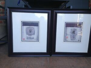 CHINESE PRINTS/MOUNTED AND FRAMED (PAPER WORK INCLUDED)