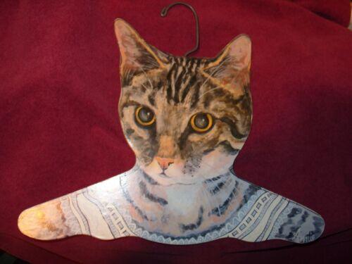 Annie Rinehart Stupell Gray Black Tabby Cat Wood Cutout Art Clothes Hanger
