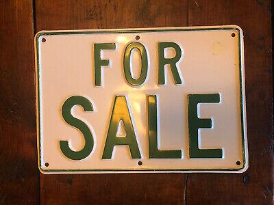 Vintage Aluminum FOR SALE Sign Embossed NOS