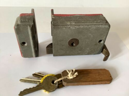 Rear Vintage 1930s? Colson security double lock security door lock with 3 keys