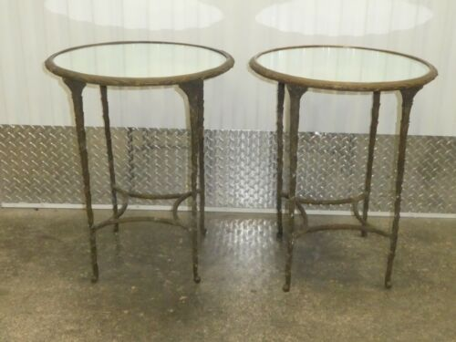 PAIR OF FRENCH STYLE FAUX BOIS GUERIDON SIDE TABLES