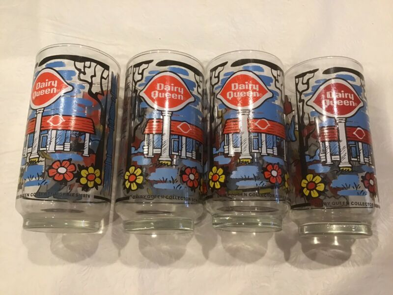 1976 Dairy Queen DQ Collector Series Cartoon Drinking Glasses Complete Set Of 4