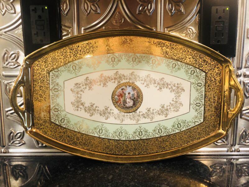 "RARE Antique Le Mieux Fine China Hand Decorated 24k Large 16"" L Platter!"