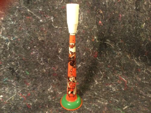 VINTAGE HALLOWEEN NOISEMAKER U S METAL TOY HORN WORKS 9+ CONDITION WITCH BAT GHO