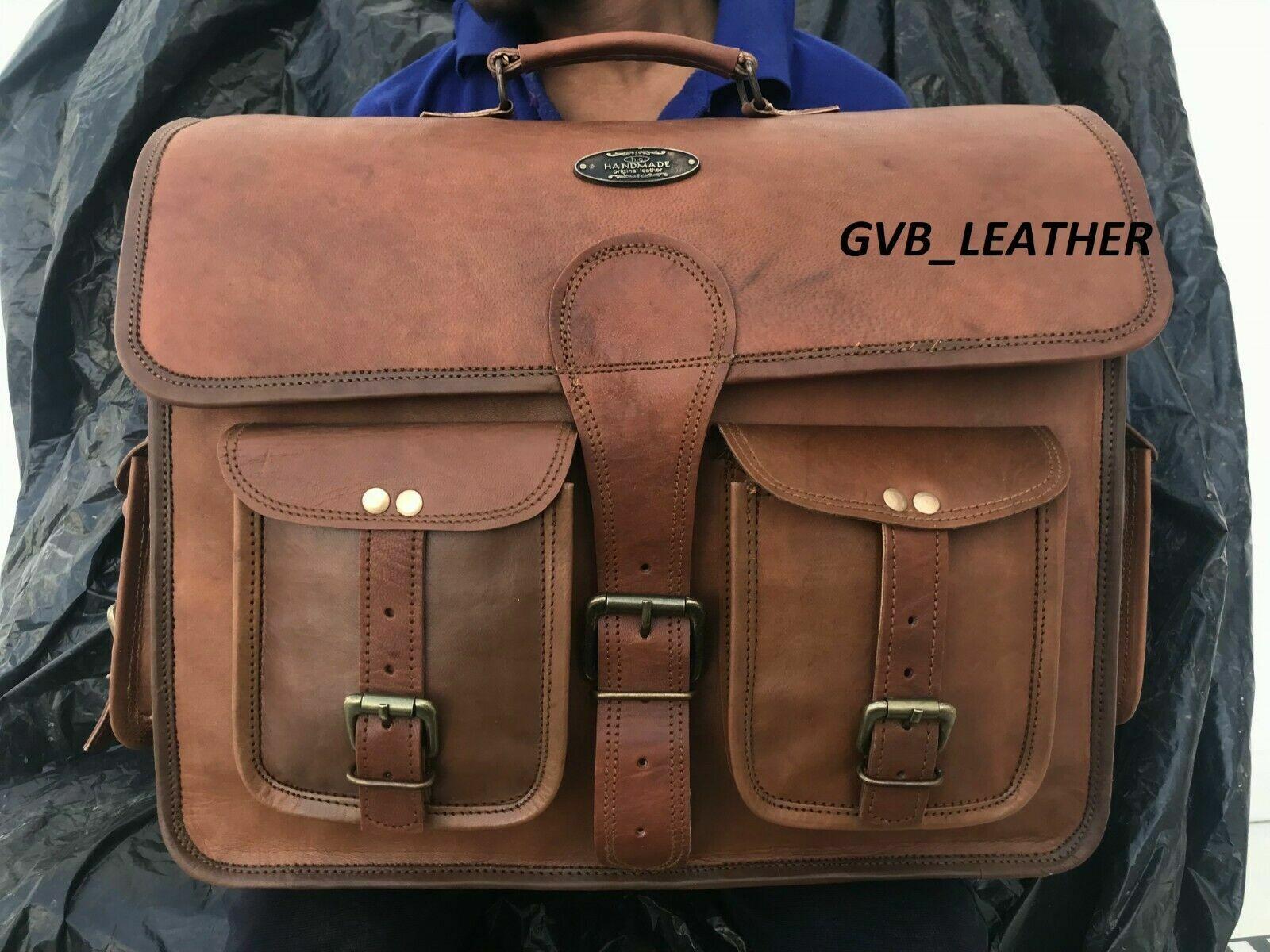 Laptop Multinational Business Case Satchel Bag Mens Vintage Leather Messenger