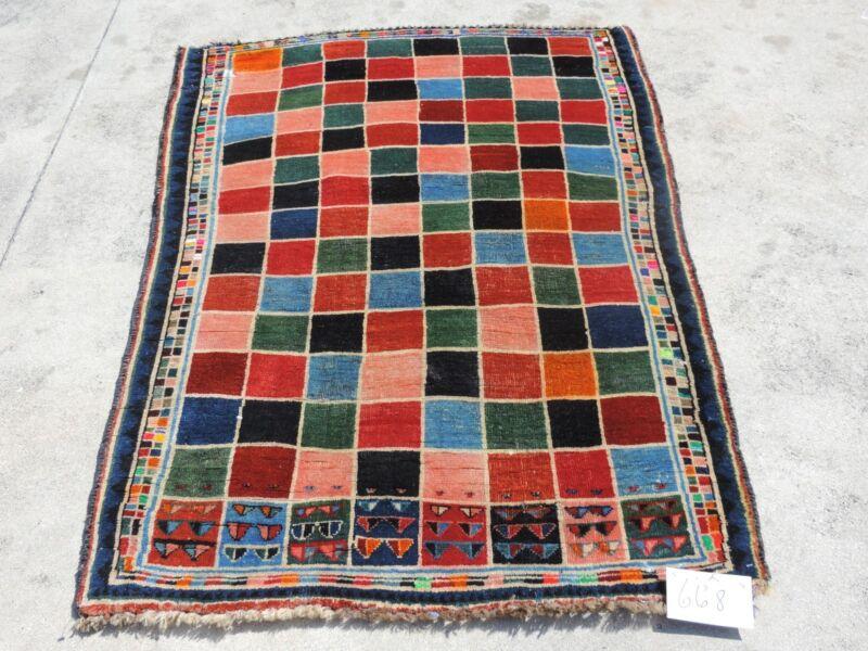 4x5ft. Interesting Handmade Gabbeh Wool Rug