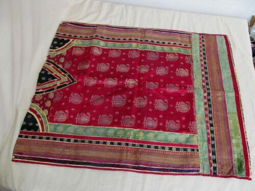 "Collectible Asian Indian Hand Made Antique Silk Brocade Pillow Sham 30"" x 24"""