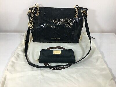 Michael kors black med Snake leather crossbody handbag and matching wallet set